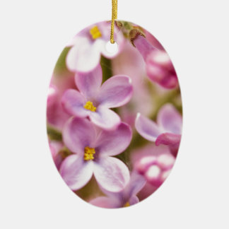 Beautiful Pink Orchid Flowers Double-Sided Oval Ceramic Christmas Ornament