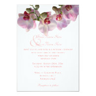 Beautiful pink orchids flowers wedding invitations custom invites