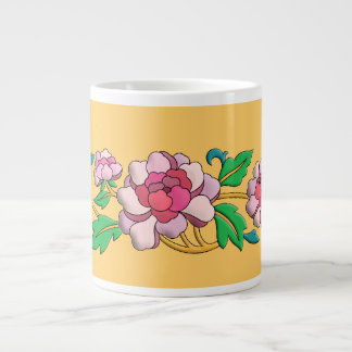Beautiful pink peonies digital art giant coffee mug