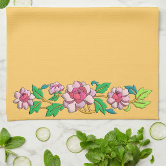 Beautiful pink peonies digital art kitchen towel