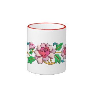 Beautiful pink peonies digital art ringer mug