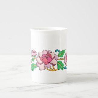 Beautiful pink peonies digital art tea cup