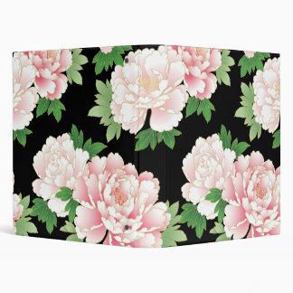 Beautiful Pink Peony Vintage Floral Vinyl Binders