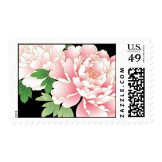 Beautiful Pink Peony Vintage Floral Postage Stamps