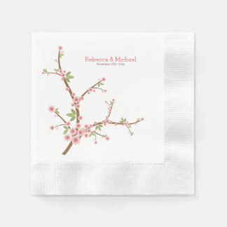Beautiful Pink Plum Blossom Coined Cocktail Napkin