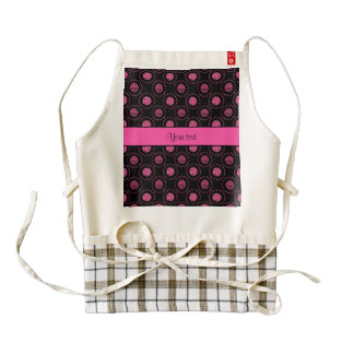 Beautiful Pink Polka Dots Black Zazzle HEART Apron