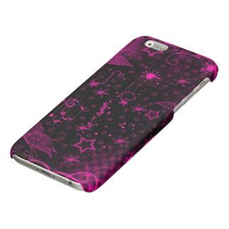 beautiful pink purple flowers stars art glossy iPhone 6 case