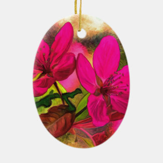 Beautiful pink red apple blossom. Double-sided Ceramic Ornament