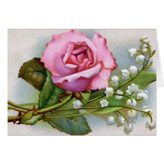 Beautiful Pink Rose and Lily of the Valley Spray Card