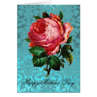 BEAUTIFUL PINK ROSE AQUA BLUE DAMASK Mother's Day Greeting Card