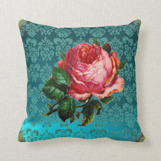 BEAUTIFUL PINK ROSE AQUA BLUE,TEAL DAMASK THROW PILLOW