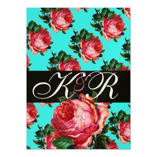 BEAUTIFUL PINK ROSE AQUA BLUE TEAL FLORAL MONOGRAM CARD