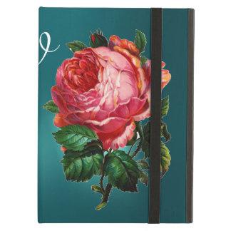 BEAUTIFUL PINK ROSE BLUE BLACK DAMASK MONOGRAM CASE FOR iPad AIR