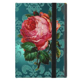 BEAUTIFUL PINK ROSE BLUE BLACK DAMASK MONOGRAM CASE FOR iPad MINI