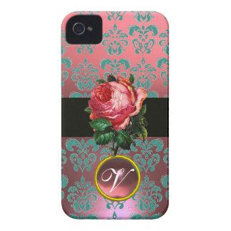 BEAUTIFUL PINK ROSE BLUE TEAL DAMASK GEM MONOGRAM iPhone 4 COVER