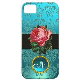 BEAUTIFUL PINK ROSE BLUE TEAL DAMASK GEM MONOGRAM iPhone SE/5/5s CASE