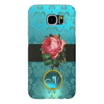 BEAUTIFUL PINK ROSE BLUE TEAL DAMASK GEM MONOGRAM SAMSUNG GALAXY S6 CASE