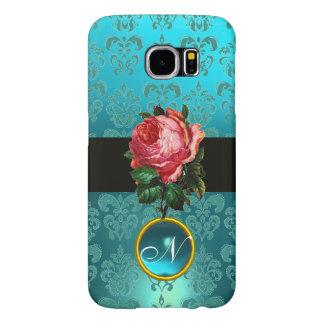 BEAUTIFUL PINK ROSE BLUE TEAL DAMASK GEM MONOGRAM SAMSUNG GALAXY S6 CASES