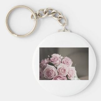 Beautiful pink rose bouquet keychain