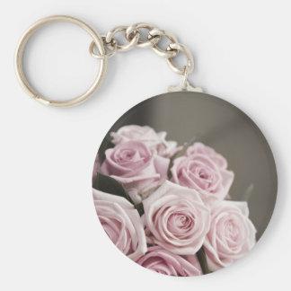 Beautiful pink rose bouquet key chain