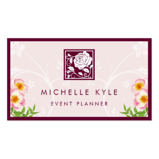 Beautiful Pink Rose Boutique Flowers Logo Pattern Business Card
