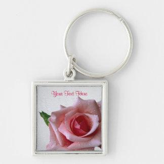 Beautiful Pink Rose Bud Design #2 Keychain