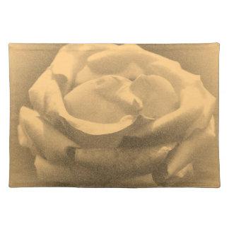 Beautiful Pink Rose Close-up Old Photo Cloth Placemat