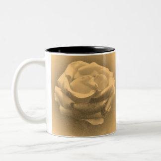 Beautiful Pink Rose Close-up Old Photo Two-Tone Coffee Mug