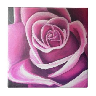 Beautiful Pink Rose Design Ceramic Tile