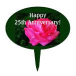 beautiful pink rose flower anniversary cake topper