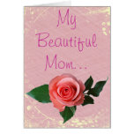 Beautiful Pink Rose for Mom Card