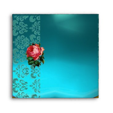 Beach Themed BEAUTIFUL PINK ROSE GOLD AQUA BLUE TEAL DAMASK ENVELOPE