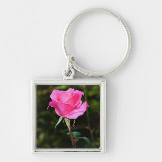 Beautiful pink rose keychain