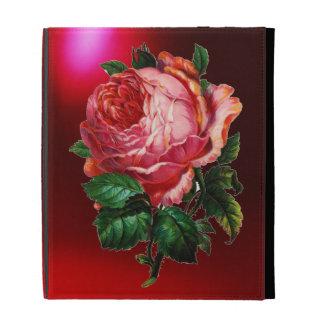 BEAUTIFUL PINK ROSE MONOGRAM iPad FOLIO CASE