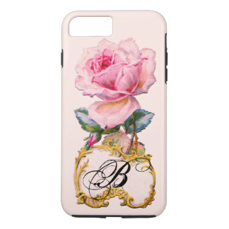 BEAUTIFUL PINK ROSE MONOGRAM iPhone 7 PLUS CASE