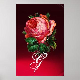 BEAUTIFUL PINK ROSE MONOGRAM POSTER