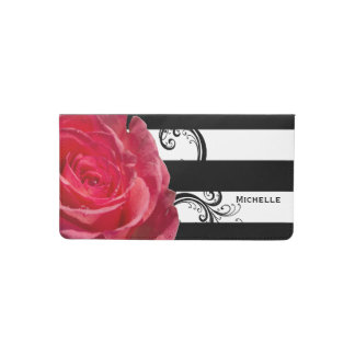 Beautiful Pink Rose on Black & White Stripes Checkbook Cover