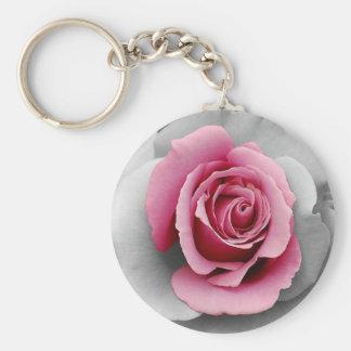 Beautiful pink rose petals print keychain