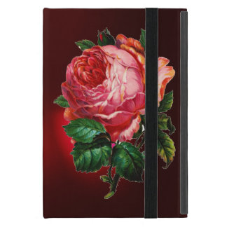 BEAUTIFUL PINK ROSE RED BLACK DAMASK RUBY CASE FOR iPad MINI