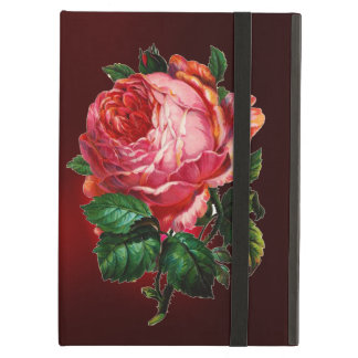 BEAUTIFUL PINK ROSE RED BLACK DAMASK RUBY COVER FOR iPad AIR
