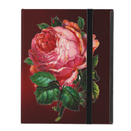 BEAUTIFUL PINK ROSE RED BLACK DAMASK RUBY iPad CASE