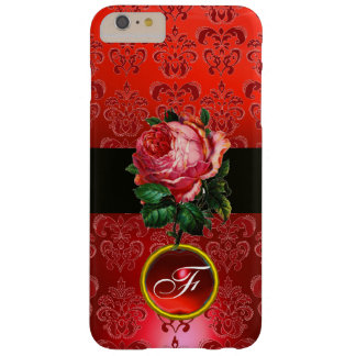 BEAUTIFUL PINK ROSE RED BLACK DAMASK RUBY MONOGRAM BARELY THERE iPhone 6 PLUS CASE