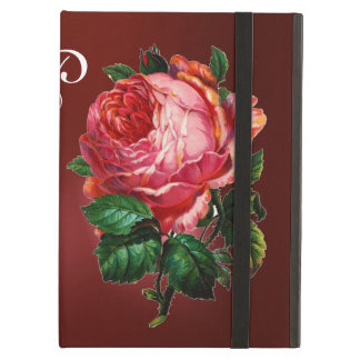 BEAUTIFUL PINK ROSE RED BLACK DAMASK RUBY MONOGRAM CASE FOR iPad AIR
