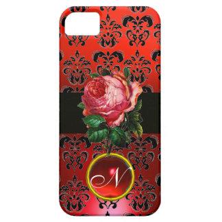 BEAUTIFUL PINK ROSE RED BLACK DAMASK RUBY MONOGRAM iPhone 5 CASES