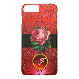 BEAUTIFUL PINK ROSE RED BLACK DAMASK RUBY MONOGRAM iPhone 7 PLUS CASE