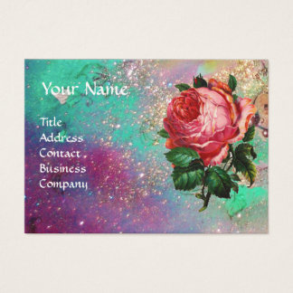 BEAUTIFUL PINK ROSE,RED WAX SEAL IN GOLD SPARKLES BUSINESS CARD