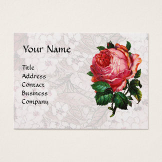 BEAUTIFUL PINK ROSE,RED WAX SEAL White Pearl Paper Business Card