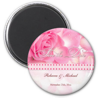 Beautiful Pink Rose Save the Date Magnet