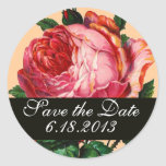 BEAUTIFUL PINK ROSE  ,Save the Date Round Stickers