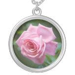 Beautiful pink rose silver necklace